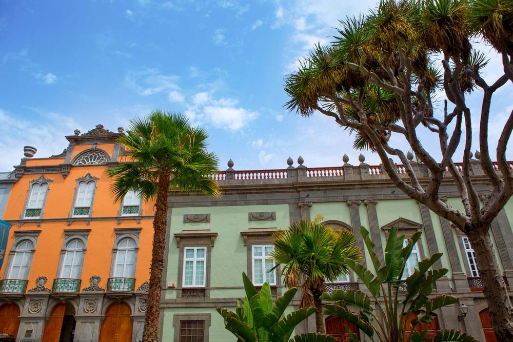 Fachadas de las casas en el barrio de la Vegueta en Las Palmas, Gran Canaria