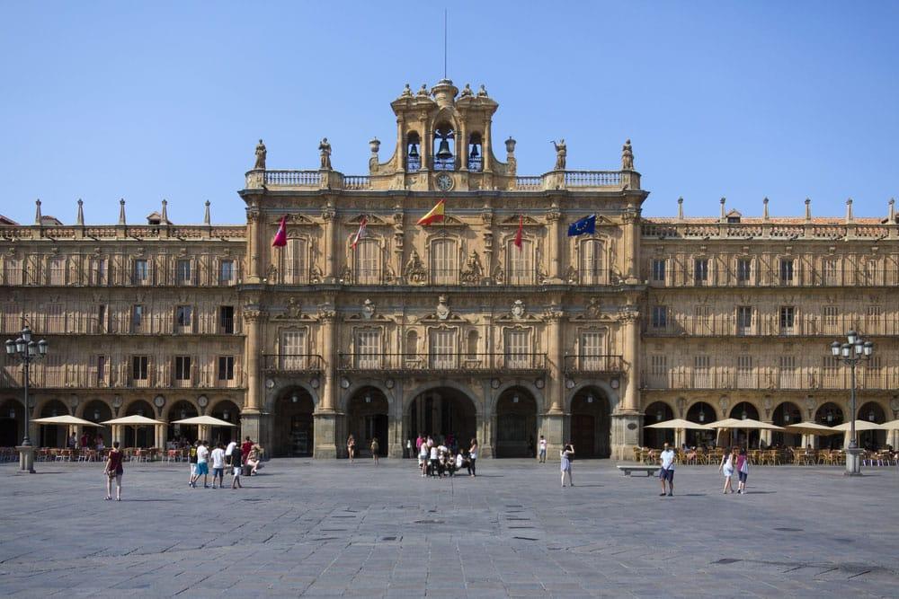 Detalle fachada ayuntamiento de Salmanca en Plaza Mayor